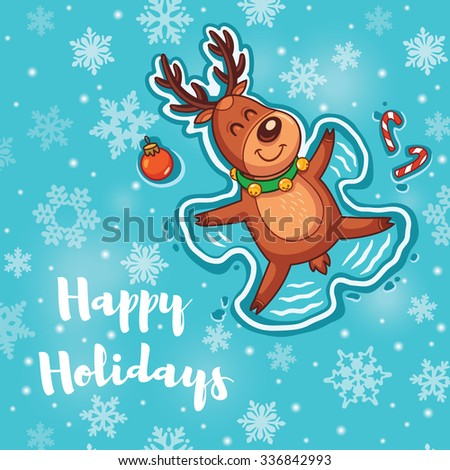 Christmas greeting card. Deer is Snow angel. Seasons Greetings. Holiday concept. Vector illustration.