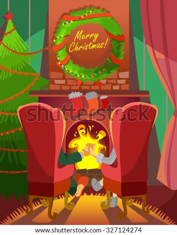Christmas greeting card design concept with happy couple sitting in armchairs at fireplace. Vector illustration - stock vector