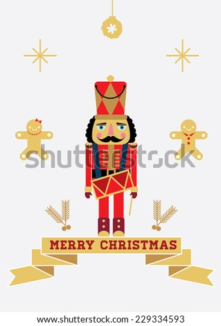 Christmas Greeting Card Design/ Golden Christmas/ Illustration or poster
