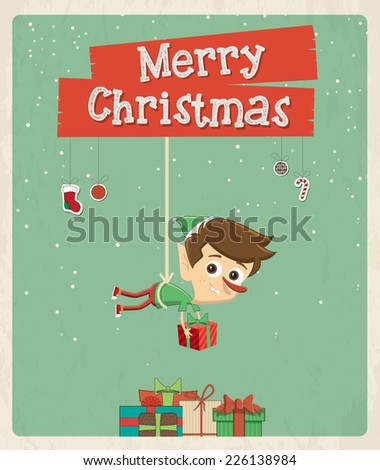 Christmas greeting card design. Vector elf illustration - stock vector