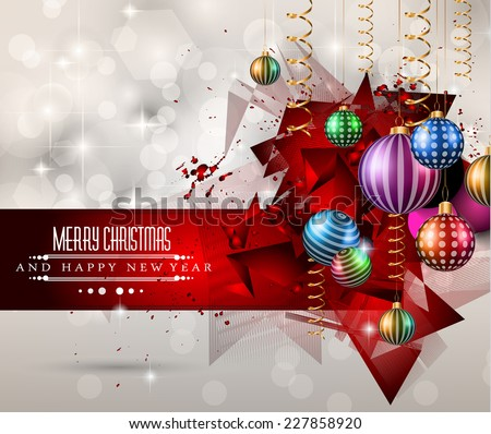 Christmas Greeting Card for happy Holidays and new year flyers. - stock vector