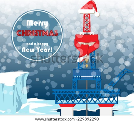Christmas greeting card oil gas industry stock vector 229892290 christmas greeting card for oil and gas industry workers typical oil mining platform with drilling m4hsunfo