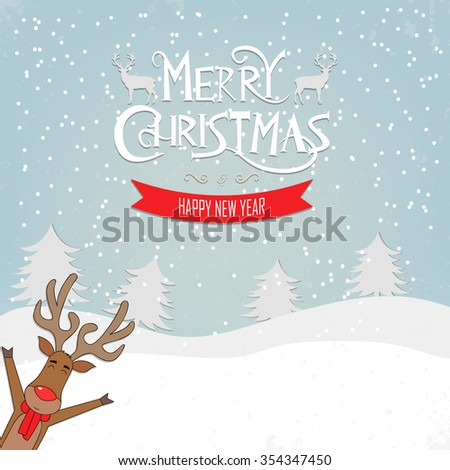 Christmas greeting card funny reindeer on the winter background. Merry Christmas and Happy New Year wishes. Vector illustration. - stock vector