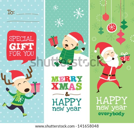 Christmas greeting card, gift tag and templates design - stock vector