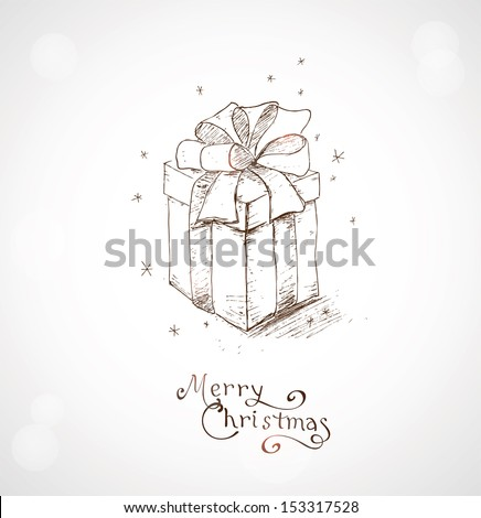 Christmas greeting card. Hand draw background with xmas design and Merry Christmas lettering - stock vector
