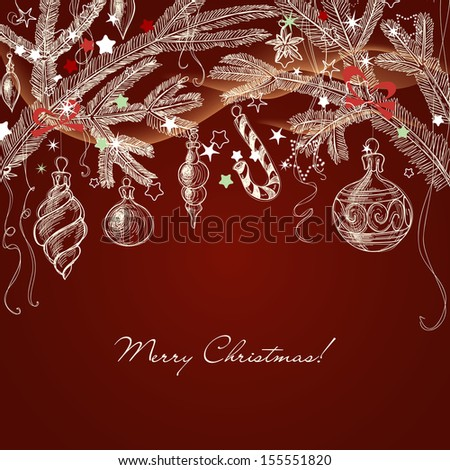 Christmas greeting card, hand draw tree branches and traditional decorations - stock vector