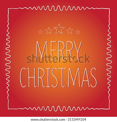 Christmas Greeting Card in red. Merry Christmas lettering, vector illustration. Christmas Typographic Background. - stock vector