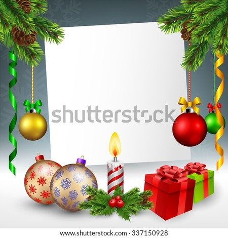 Christmas greeting card in snowy background - stock vector