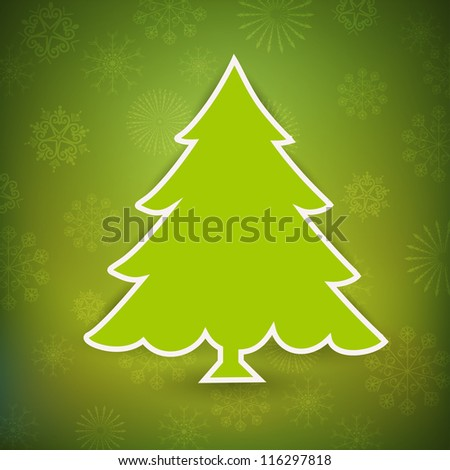 Christmas greeting card, invitation card or gift card with Xmas tree on green snowflake background. EPS 10. - stock vector