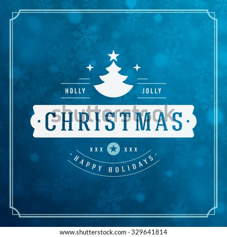 Christmas greeting card lights and snowflakes vector background. Merry Christmas holidays wish message typography design and decorations. Vector illustration. - stock vector