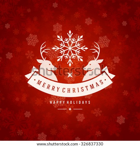 Christmas greeting card lights and snowflakes vector background. Merry Christmas holidays wish and Happy new year message typography design and vintage ornament. Vector illustration. - stock vector