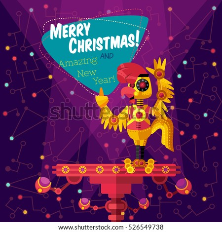 Christmas greeting card: Merry Christmas and amazing New Year. Rooster robot in outer space in flat style.