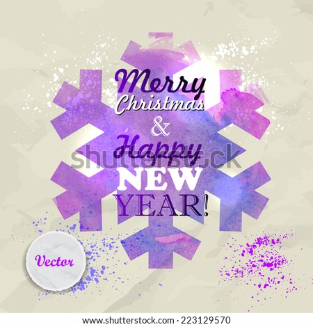 Christmas Greeting Card. Merry Christmas and happy new year lettering. Vector illustration. Watercolor snowflake - stock vector