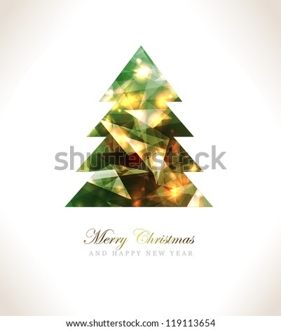 Christmas Greeting Card/Merry Christmas /Christmas tree and background - stock vector