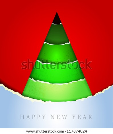 Christmas Greeting Card/Merry Christmas /Christmas tree and  winter background