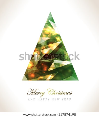 Christmas Greeting Card/Merry Christmas /Christmas tree and  winter background - stock vector