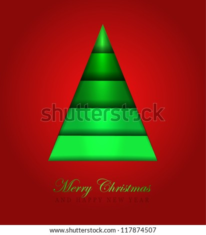 Christmas Greeting Card/Merry Christmas /Christmas tree on a red background