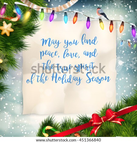 Christmas Greeting Card. Merry Christmas lettering. EPS 10 vector file included - stock vector