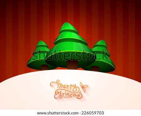 Christmas greeting card, merry christmas lettering, vector illustration
