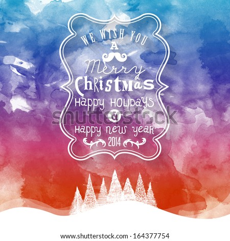 Christmas Greeting Card. Merry Christmas lettering. Water color effect illustration  - stock vector