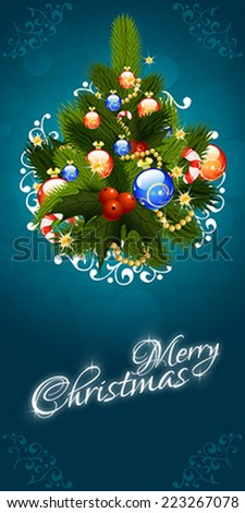 Christmas Greeting Card. Merry Christmas lettering with Pine Tree - stock vector