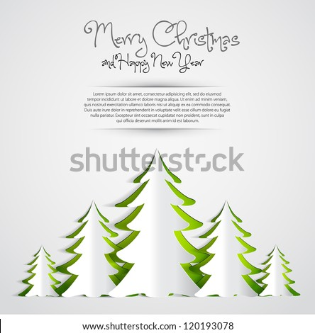 Christmas Greeting Card - Merry Christmas lettering with trees - vector illustration - stock vector