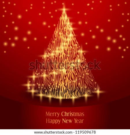 Christmas Greeting Card. Merry Christmas tree, vector illustration - stock vector