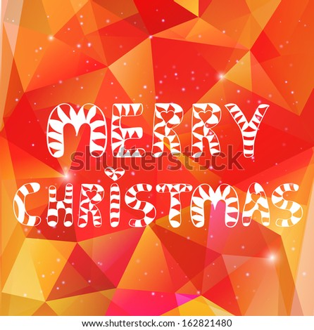 Christmas greeting card on abstract polygonal background