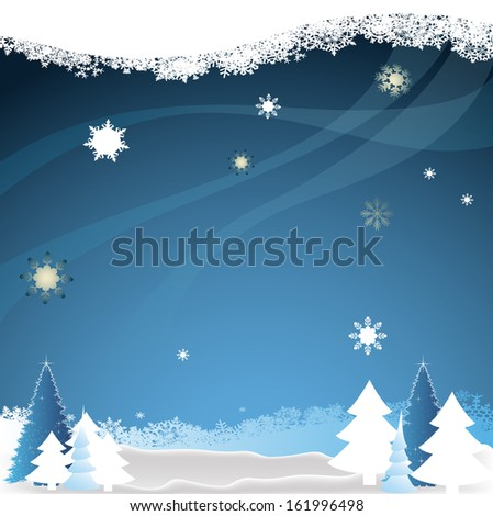 Christmas greeting card on the background of the winter forest