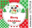 Christmas Greeting Card. Patchwork christmas background with owl - stock vector