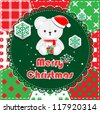 Christmas Greeting Card. Patchwork christmas background with teddy bear - stock vector