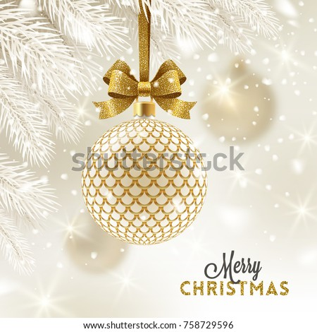 Christmas Greeting Card Patterned Golden Bauble Stock Vector