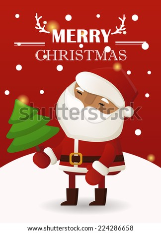 Christmas greeting card \ poster \ banner with cute Santa - stock vector