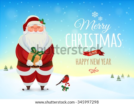 Christmas greeting card, poster. Funny Santa. Winter landscape. Vector illustration. Merry Christmas and Happy new year - stock vector
