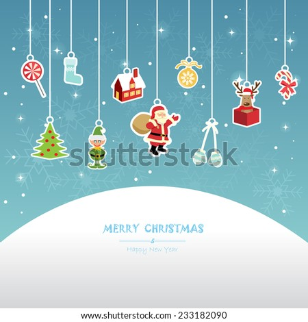 christmas greeting card, red background - stock vector