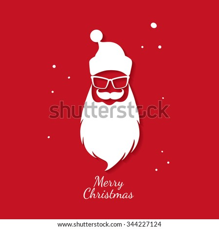 Christmas greeting card. Santa Claus. Hipster style. Vector illustration - stock vector