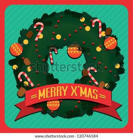 Christmas Greeting Card template/ Merry Christmas vector illustration - stock vector