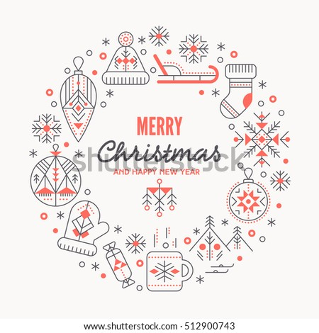 Christmas Greeting Card Template Outlined Signs Stock Photo Photo - Christmas card templates to color