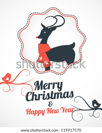 Christmas Greeting Card Template with Reindeer and Birds in White Background - stock vector