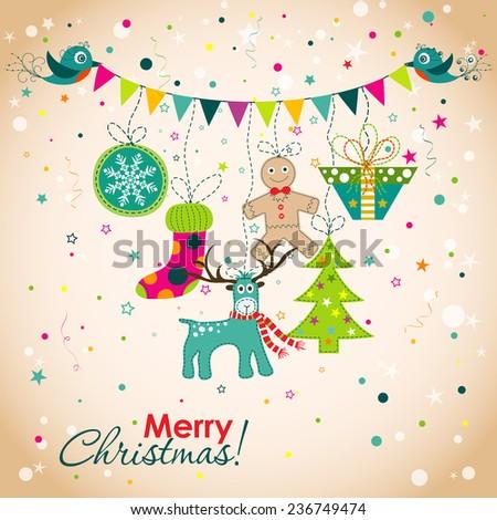 Christmas greeting card, vector illustration - stock vector