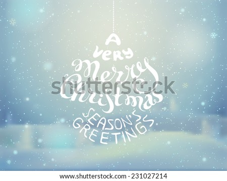 Christmas greeting card. Vector illustration. Blurred winter background. Snowy landscape with lights and snowflakes. There is place for your text. - stock vector