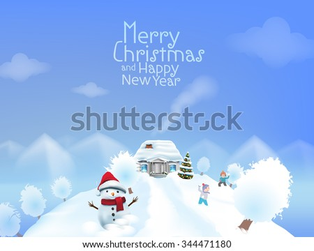 Christmas greeting card vector template featuring idyllic mountain landscape with house , snow man and Christmas tree - stock vector