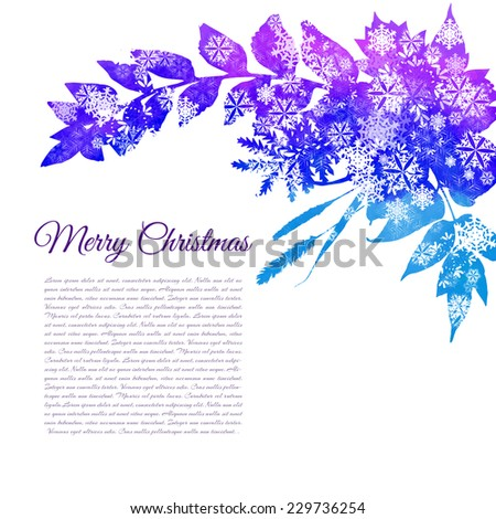 Christmas Greeting Card- watercolor blue and purple leaves with white snowflakes on white background. Vector illustration - stock vector