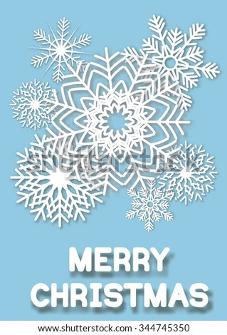 Christmas greeting card whit cut paper snowflakes. White snowflakes on blue background. Vector illustrations. - stock vector