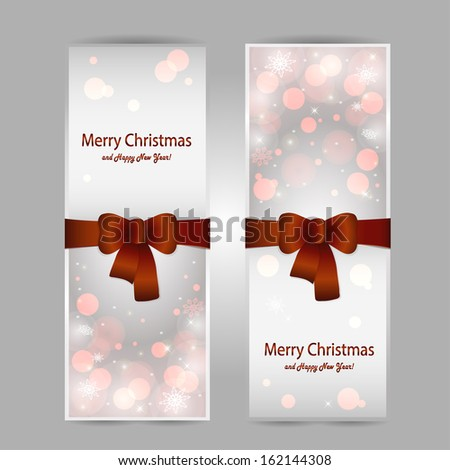 Christmas greeting card with a red bow