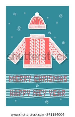 Christmas greeting card with a red knitted sweater and hat, snowflakes and knitted inscription Merry Christmas. Vector. - stock vector