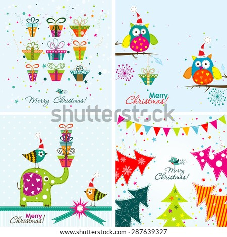 Christmas greeting card with an elephant, vector