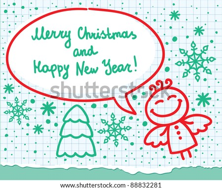 christmas greeting card with angel, hand drawn illustration - stock vector