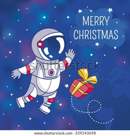 Christmas greeting card with astronaut, vector illustration, contains gradient mesh - stock vector