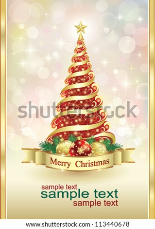 Christmas greeting card with ball and christmas tree - stock vector